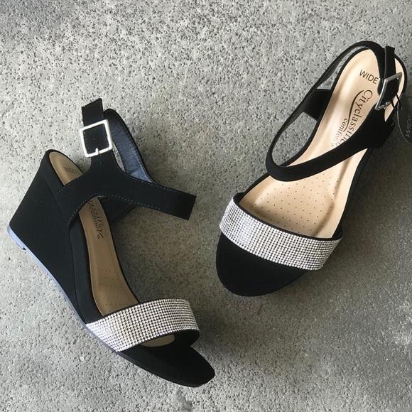 6ae1b0af8a7a7 City Class Black Wide-Fit Comfort Wedge Sandal Boutique